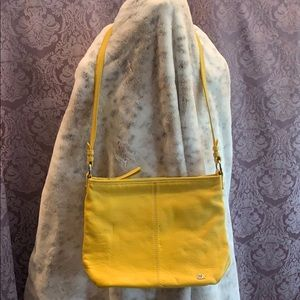 The Sak Yellow Leather Shoulder Bag with Pocket